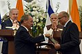 The Prime Minister, Shri Narendra Modi and the Prime Minister of Israel, Mr. Benjamin Netanyahu witnessing the Exchange of MoUsAgreements between India and Israel, at Hyderabad House, in New Delhi on January 15, 2018.jpg