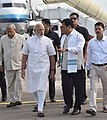The Prime Minister, Shri Narendra Modi being received by the Governor of Assam, Nagaland & Tripura, Shri P.B. Acharya and other dignitaries on his arrival, at Guwahati Airport on May 24, 2016 (3).jpg