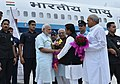 The Prime Minister, Shri Narendra Modi being welcomed by the Governor of Uttar Pradesh, Shri Ram Naik and the Chief Minister of Uttar Pradesh, Shri Akhilesh Yadav, on his arrival, at Gorakhpur, Uttar Pradesh on July 22, 2016 (1).jpg