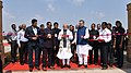 The Prime Minister, Shri Narendra Modi inaugurates the Nandan Van Jungle Safari, at Naya Raipur, Chhattisgarh on November 01, 2016. The Chief Minister of Chhattisgarh, Dr. Raman Singh is also seen (2).jpg