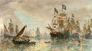 The Spanish Armada Leaving the port of Ferrol by Sir Oswald W. Brierly 1817-1894.jpg