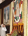 The Speaker, Lok Sabha, Shri Somnath Chatterjee paying tributes at the portrait of former Prime Minister, Pandit Jawaharlal Nehru on his 118th birth anniversary at Parliament House, in New Delhi on November 14, 2007.jpg