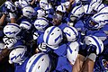 The U.S. Air Force Academy football team prepares to take the field prior to the start of their opening football game against the Idaho State Bengals at Falcon Stadium in Colorado Springs, Colo., Sept 120901-F-ZJ145-414.jpg