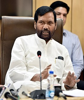The Union Minister for Consumer Affairs, Food and Public Distribution, Shri Ram Vilas Paswan briefing the Media on the issues related to his Ministry, in New Delhi on April 23, 2018.JPG