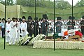 The Union Minister of Chemicals & Fertilizers and Steel, Shri Ram Vilas Paswan laying wreath at the mortal remains of the former Prime Minster, Shri Chandra Shekhar at the funeral pyre, in Delhi on July 09, 2007.jpg