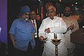 The Union Minister of Railways Shri Lalu Prasad lighting a traditional lamp to inaugurate the Global Rail Freight Conference-2007 (GRFC) being jointly organised by Indian Railways and International Union of Railways (UIC) in.jpg