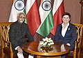 The Vice President, Shri M. Hamid Ansari and the Prime Minister of Poland, Ms. Beata Szydlo, in Warsaw, Poland on April 27, 2017.jpg