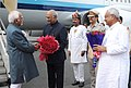The Vice President, Shri M. Hamid Ansari being received by the Governor of Bihar, Shri Ram Nath Kovind and the Chief Minister of Bihar, Shri Nitish Kumar, on his arrival, in Patna on September 08, 2016.jpg