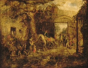 Wall Street - The Vigilant Stuyvesant's Wall Street Gate, 19th-century painting by John Quidor.