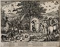 The animals look on as the angel expels Adam and Eve from pa Wellcome V0034374.jpg