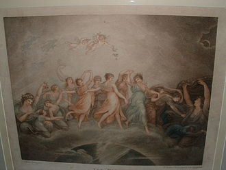 The Hours (engraving) - A closer view of The Hours by Francesco Bartolozzi. This engraving is in very good condition, showing only three small spots of fauxing: two to the left of the title and one above the cherubs.