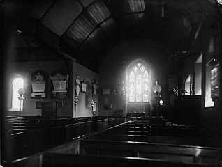 The interior of the church, Llansantffraid-ym-Mechain (?)