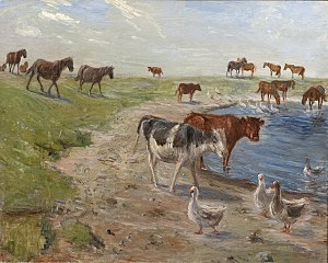 Calves and Geese at a Wateringhole on the Island of Saltholm