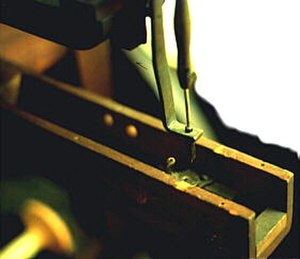 Barthélemy Thimonnier - Close up of a copy of Barthélemy Thimonnier's sewing machine from about 1830.