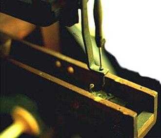 Barthélemy Thimonnier - Close up of a copy of Barthélemy Thimonnier's sewing machine from about 1830.