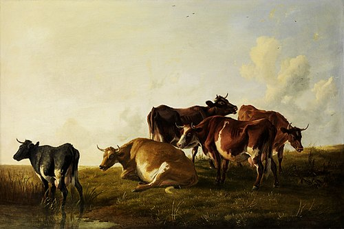 Cattle in the pasture by Thomas Sidney Cooper, 1881. Thomas sidney cooper painting1.jpg