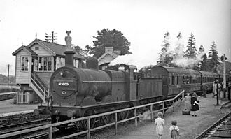 Hereford, Hay and Brecon Railway - A train from Hereford at Three Cocks Junction in 1949