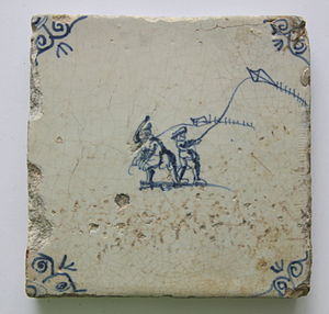 Tile with children with kites 17the centry..JPG