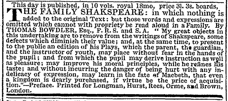 Advertisement for 1819 edition of The Family Shakspeare Times-Bowdler.png