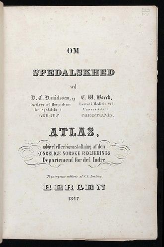 Daniel Cornelius Danielssen - Title page of Om Spedalskhed