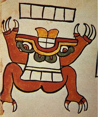 Tlaltecuhtli - Feminine anthropomorphism of Tlaltecuhtli in the Codex Tudela (ca. 1540), wearing a women's huipil tunic