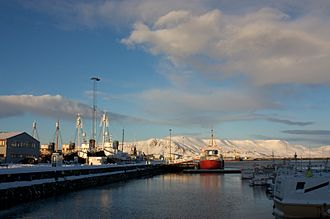 Whaling - To the left, the black-hulled whaling ships. To the right, the red-hulled whale-watching ship. Iceland, 2011.