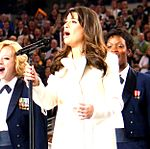 Tops In Blue & Lea Michele at Super Bowl XLV (cropped).jpg