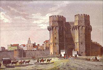 Torres de Serranos - Torres de Serranos and the city walls of Valencia in an old drawing.