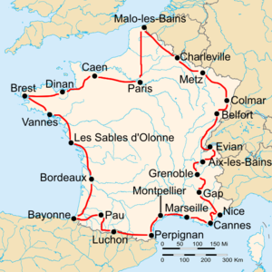Route of the 1931 Tour de FranceFollowed counterclockwise, starting in Paris