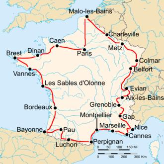 1931 Tour de France - Route of the 1931 Tour de France Followed counterclockwise, starting in Paris