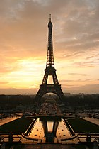 Icon of Paris, the Eiffel tower at sunrise