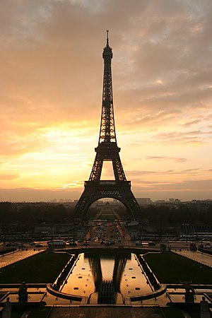 Eiffel Tower at sunset from Wikipedia.org