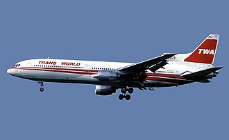 TWA operated the L-1011 TriStar wide-body jetliner Trans World Airlines Lockheed L-1011-385-1-15 TriStar 100 Marmet.jpg