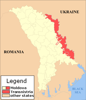 Kosovo independence precedent - Map of Transnistria.