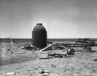 Trinity (nuclear test) - The Jumbo container after the test