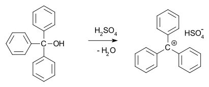 reaction of triphenylmethanol with sulfuric acid
