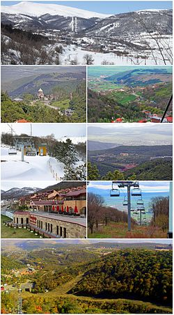 From top, left to right: Panoramic winter view of TsaghkadzorKecharis Monastery • Tsaghkadzor landscapeTsaghkadzor ski resort • Tsaghkadzor Sports ComplexMariott Tsaghkadzor • Tsaghkadzor ski liftPanoramic summer view of Tsaghkadzor