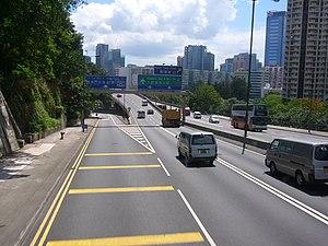 Lam Tin - Tseung Kwan O Road, a main road marking the boundary of Lam Tin