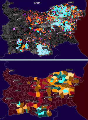 Demographics of Bulgaria - Distribution of Turks according to the 2001 census
