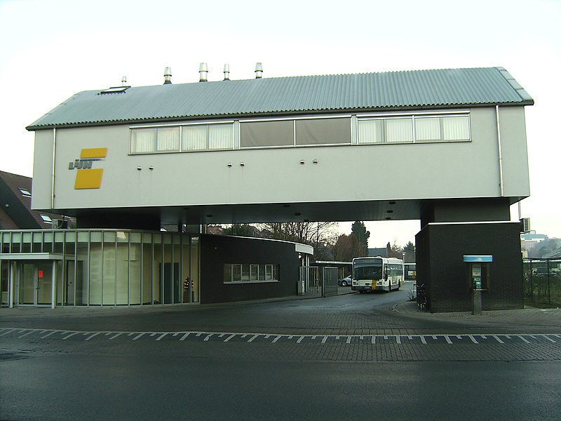 Entrance of the De Lijn bus depot in Turnhout, Belgium.