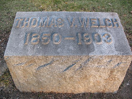 The grave of T.V.Welch at the Gate of Heaven Cemetery in Lewiston, NY Tvwelch 1850 1903.jpg