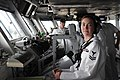 U.S. Navy Petty Officer 2nd Class Debra Snide stands watch in the pilot house of the aircraft carrier USS Ronald Reagan (CVN 76), San Diego on May 28, 2009..jpg