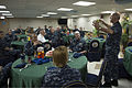 U.S. Navy Vice Adm. Matthew L. Nathan, right, the surgeon general of the Navy and chief of the Navy's Bureau of Medicine and Surgery, speaks to Sailors aboard the hospital ship USNS Mercy (T-AH 19) in Pearl 140629-N-OL084-092.jpg