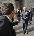 U.S. Vice President Joe Biden, right foreground, discusses the release of Merrill Newman, a Korean War veteran detained in North Korea, with the press at the Korean War Memorial in Seoul, South Korea, Dec. 7 131207-N-SZ959-085.jpg