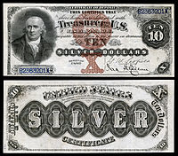 $10 Silver Certificate, Series 1880, Fr.287, depicting Robert Morris