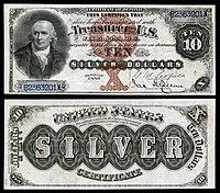 Certificado de prata de $ 10, série 1880, Fr.287, representando Robert Morris