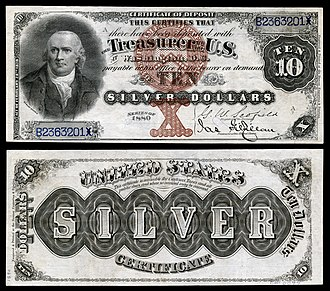 United States ten-dollar bill - Series 1880 $10 silver certificate.