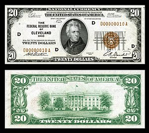 Series 1929 $20 National Currency note issued by the Cleveland Federal Reserve Bank. US-$20-FRBN-1929-Fr.1870-D.jpg