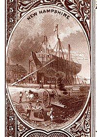New Hampshire state coat of arms from the reverse of the National Bank Note Series 1882BB