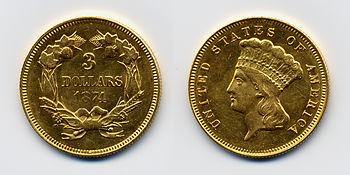 1874 USA 3 dollars coin.